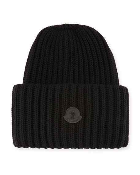 Moncler Men's Oversized Ribbed Logo Beanie Hat