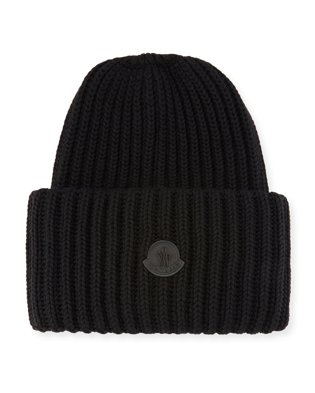 Moncler Men s Oversized Ribbed Logo Beanie Hat  2a09dcd9060