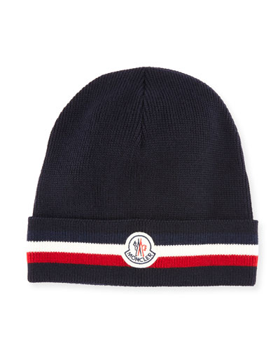 Men's Tricolor-Striped Cuff Beanie Wool Hat