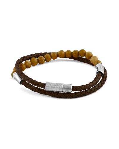 Men's Beaded Leather Double-Wrap Bracelet