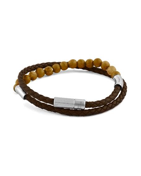 Tateossian Men's Beaded Leather Double-Wrap Bracelet