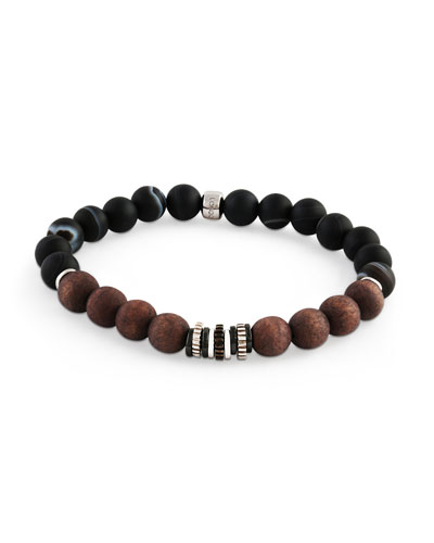 Men's Frosted Wood-Bead Bracelet