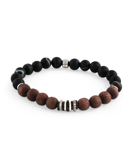 Men's Frosted Wood-Bead Bracelet