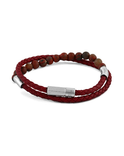 Men's Beaded Leather Wrap Bracelet, Red