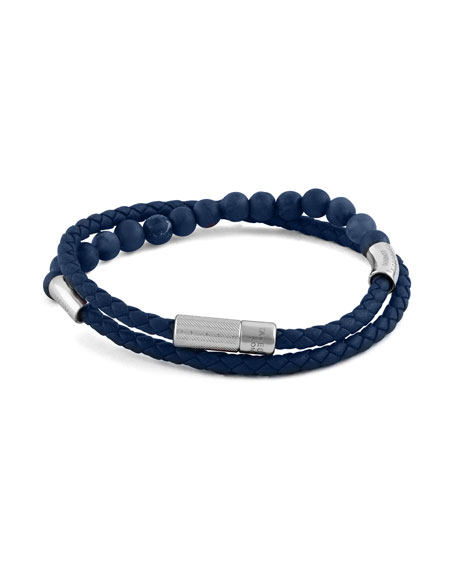 Men's Beaded Leather Wrap Bracelet, Blue