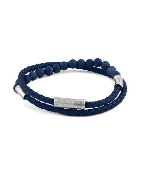 Tateossian Men's Beaded Leather Wrap Bracelet, Blue