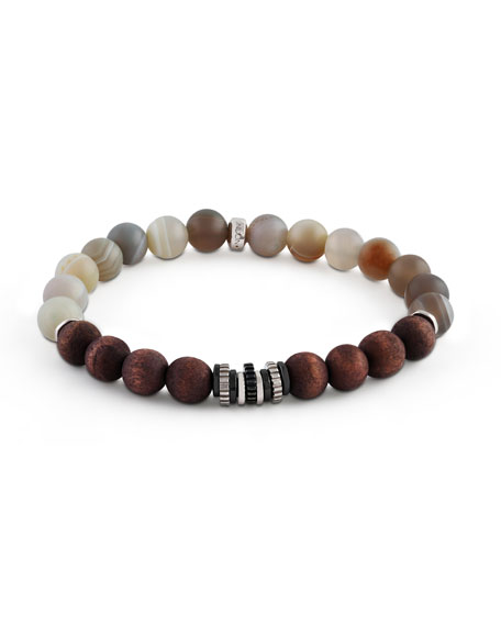 Tateossian Mens Frosted Wood-Bead Bracelet IEaCt