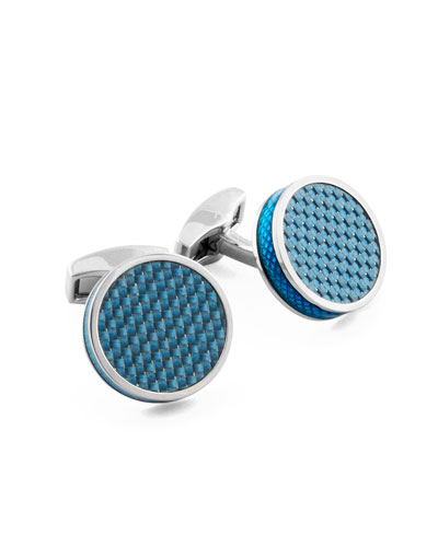 Blue Carbon Fiber Round Cuff Links