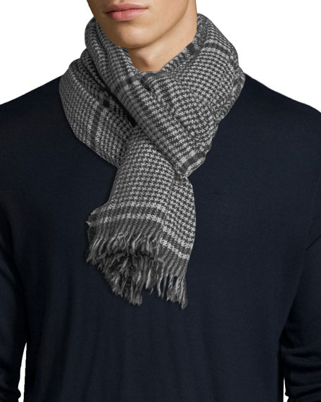 Kishorn Washed Lagg Houndstooth Cashmere Scarf
