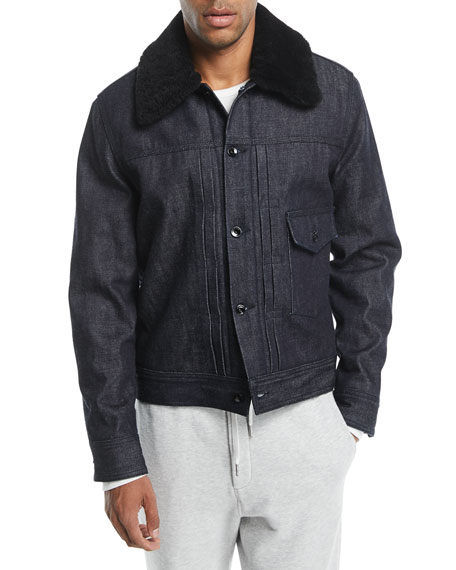 Men's Bartack Denim Jacket with Shearling Collar