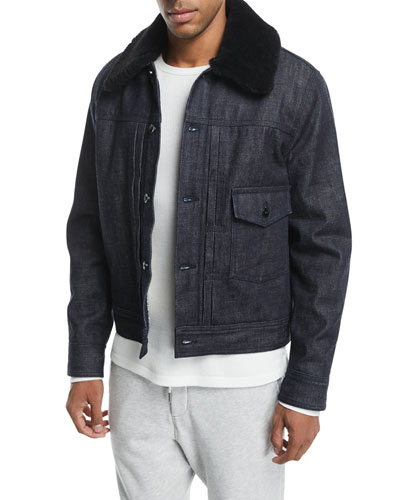 Bartack Denim Jacket with Shearling Collar