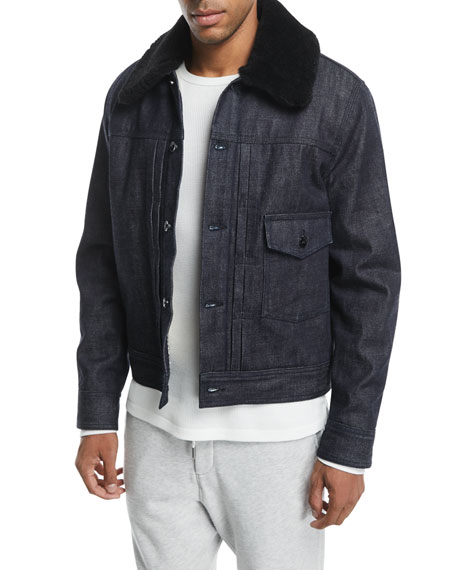 Rag & Bone Bartack Denim Jacket with Shearling