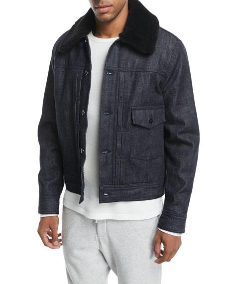 Rag & Bone Bartack Denim Jacket with Shearling