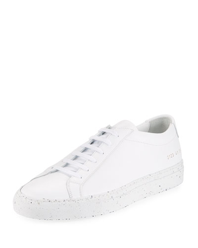 Men's Achilles Leather Low-Top Sneaker with Confetti Sole, White/Black