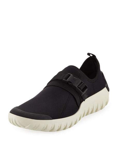 Prada Scuba Low-Top Stretch Sneaker, Black/White