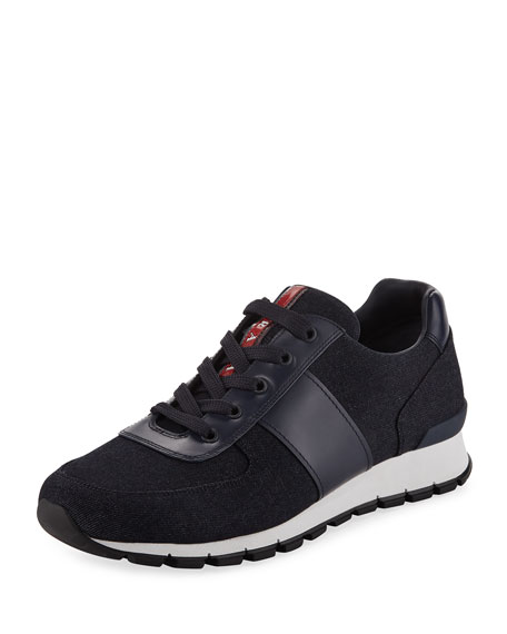 Prada Denim Vitello Lace-Up Sneaker