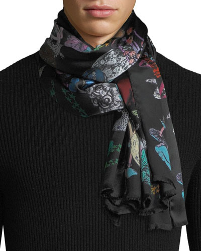 1774 Graphic-Print Silk Scarf