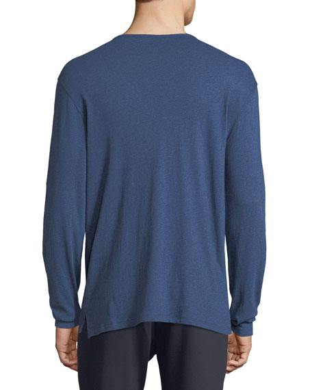 Raw-Edged Long-Sleeve Henley Shirt
