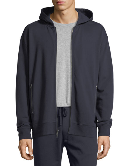 Zip-Pocket Cotton Hoodie