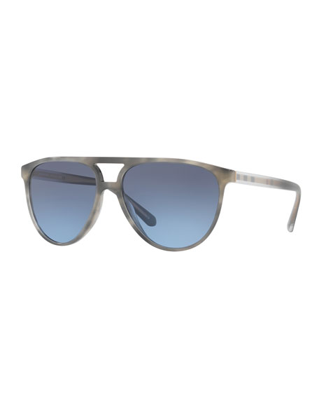 Burberry Acetate Aviator Sunglasses with Brow Bar