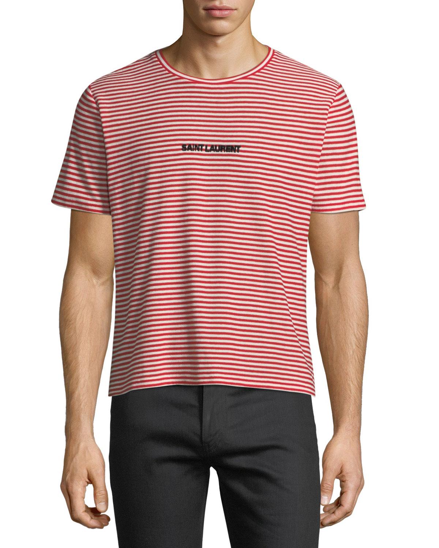 1fe3428c Saint Laurent Striped Logo-Graphic T-Shirt | Neiman Marcus