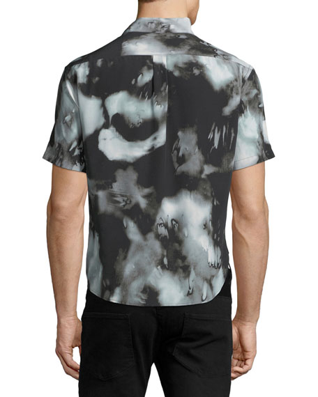 Graphic-Print Button-Front Shirt