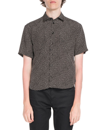 Dot-Print Button-Front Shirt
