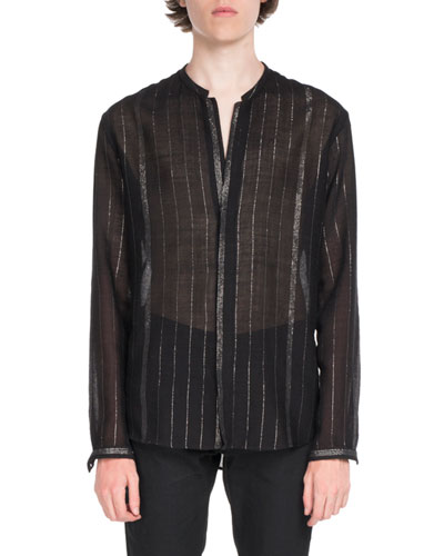 Saint Laurent Striped Semisheer Long-Sleeve Shirt