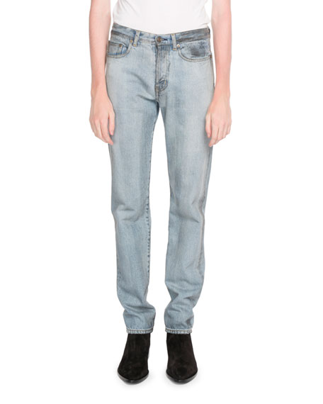 Saint Laurent  SLIM-FIT EMBROIDERED JEANS