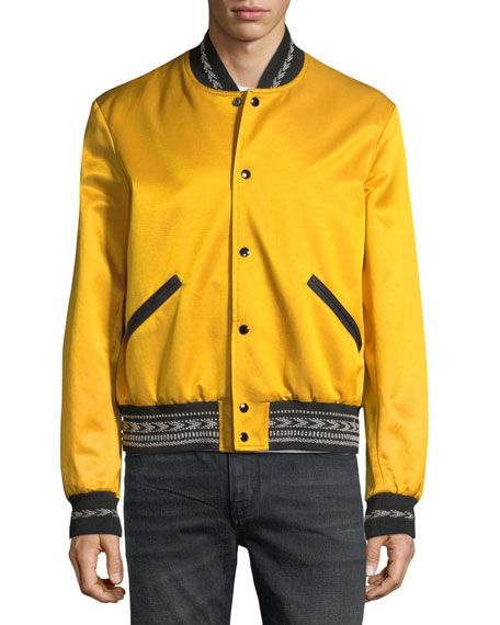 Teddy Contrast-Trim Bomber Jacket