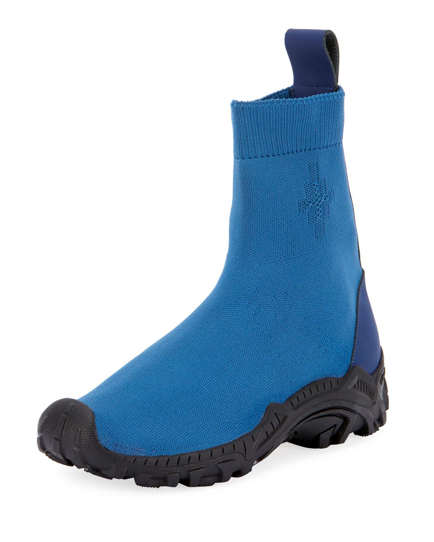 Marcelo Burlon Men S Fly Knit Sock Boot Sneakers Blue