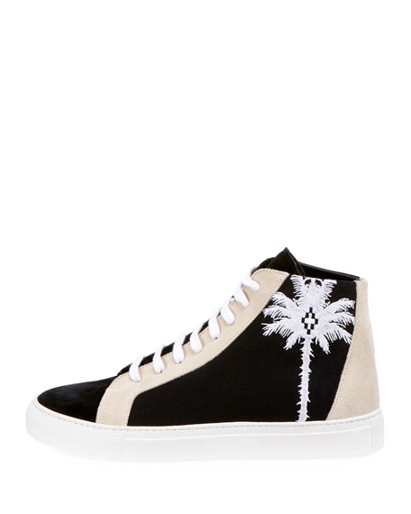 Men's Coralie Palm Tree Suede High-Top Sneakers
