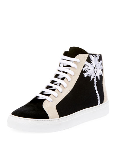 Coralie Palm Tree Suede High-Top Sneaker
