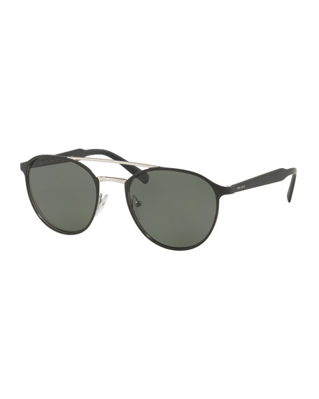 Prada Round Aviator Sunglasses, Black/Silver