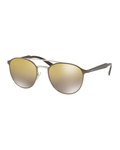 Round Brow-Bar Mirrored-Lens Sunglasses