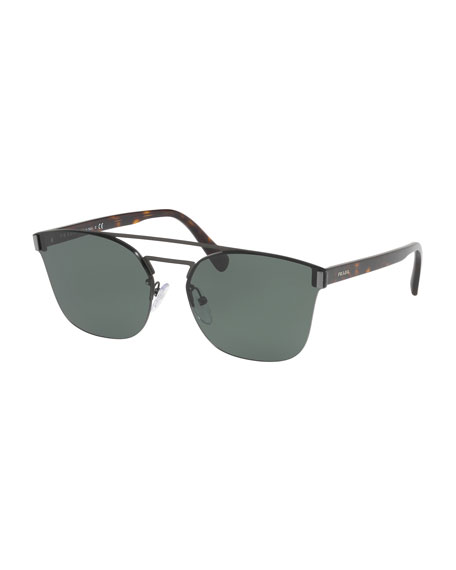 Prada Square Half-Frame Sunglasses