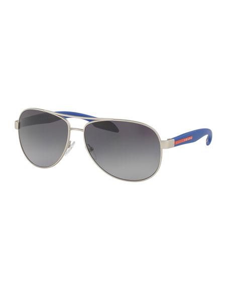 Prada Plastic and Metal Aviator Sunglasses