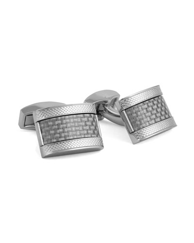 Carbon Fiber Rectangular Cuff Links, Gray