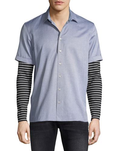Striped Jersey-Trim Shirt