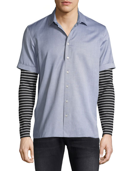 Striped Jersey-Trim Shirt