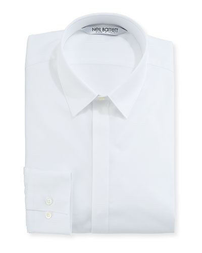 Modernist Mixed Texture Dress Shirt