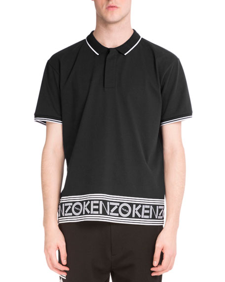 Logo-Hem Polo Shirt w/Contrast Tipping, Black