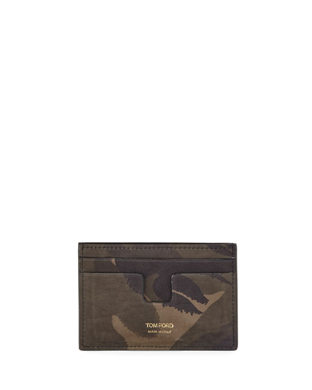 TOM FORD Camouflage-Print Leather Card Holder