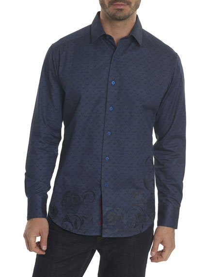 Robert Graham Lionel Embroidered-Trim Sport Shirt