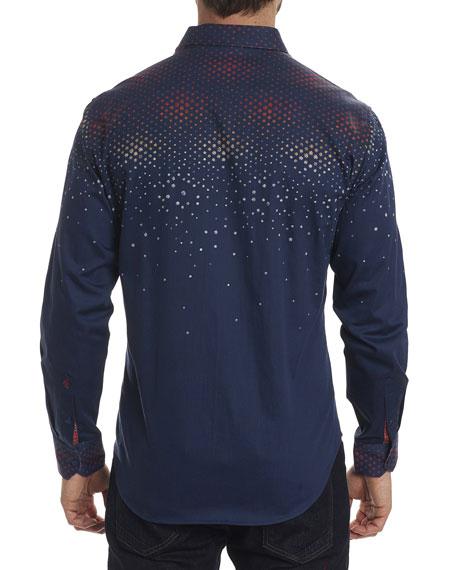 Alec Cascade-Print Sport Shirt