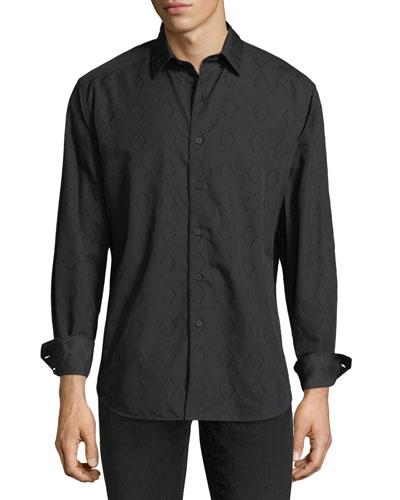 Turnell Large Diamond-Print Sport Shirt