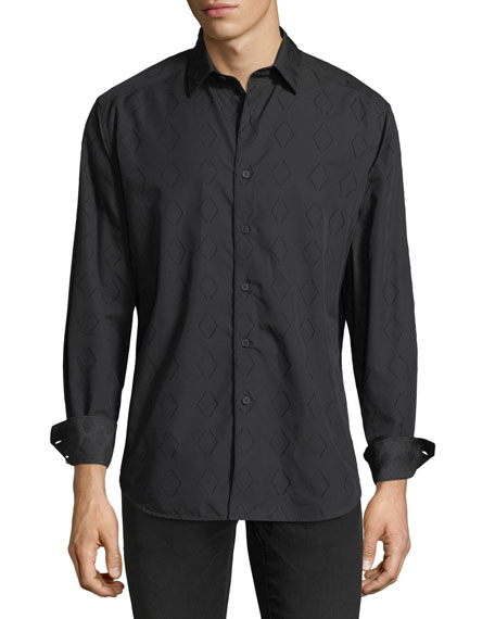 Turnell Large Diamond-Print Sport Shirt