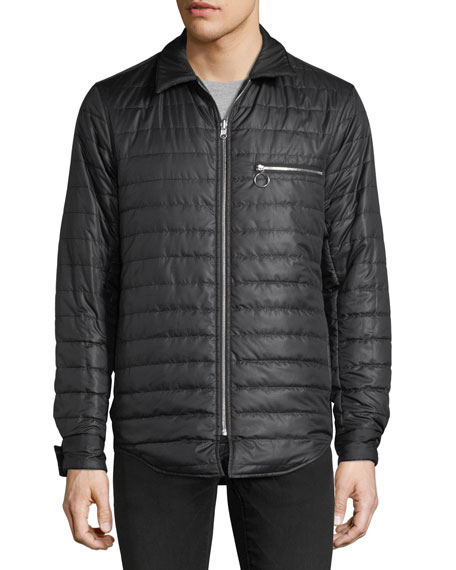 Quilted Plaid Zip-Front Reversible Jacket