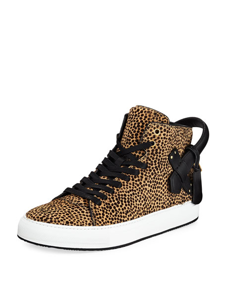 Buscemi Men's 100mm Leopard Calf Hair High-Top Sneakers