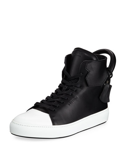 Men's 125mm Leather High-Top Sneakers  Black/White
